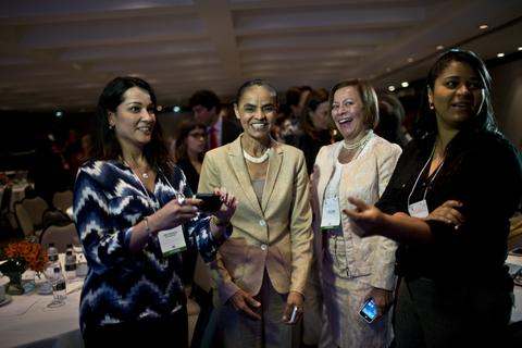 Marina SIlva på konferensen i São Paulo om kvinnligt ledarskap i Latinamerika