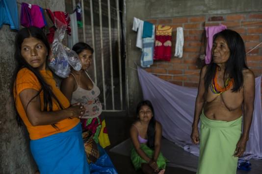 Arminda Garabato, Estelina Piraza, Yuleida Chixiliano och Florinda Garabato vill tillbaka till sin by i djungeln