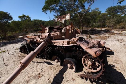 En sprängd brittisk Centurion-stridsvagn som Sydafrikas apartheidarmé använde under Kalla kriget.