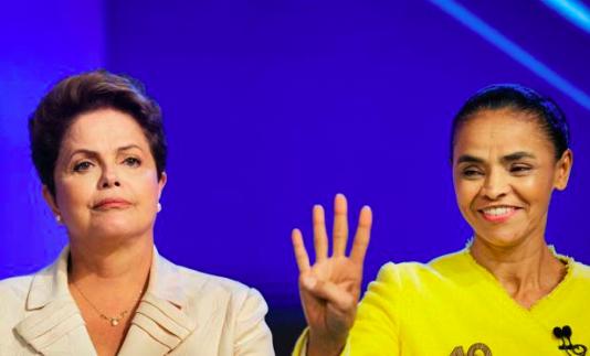Dilma och Marina under Rede Globos TV-debatt