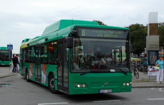 De gröna bussarna används av alla dem som inte cyklar eller har råd att köpa en egen bil