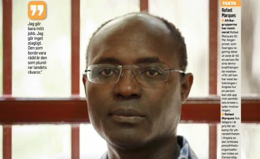 Rafael Marques i sitt hem i Luanda inför rättegången som tystat honom