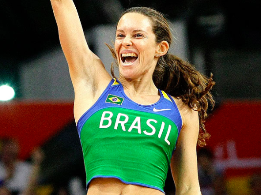 Så här glad blev Fabiana Murer när hon hoppade 4.87 för några veckor sedan